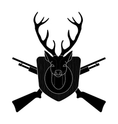 Hunting trophy deer head black silhouette vector