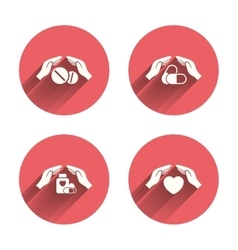 Hands insurance icons health medical pills vector