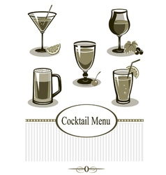 Cocktail icons set vector