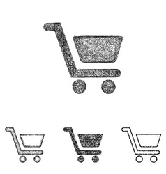 Shopping cart icon set - sketch line art vector