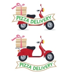 Funny red scooter with logo pizza delivery vector