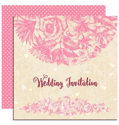Wedding invitation floral decoration over vintage vector