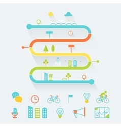 Timeline route and road map infographics elements vector