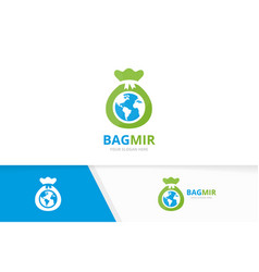 Bag and planet logo combination sack and vector