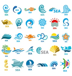Big collection of logos sea vector image vector image