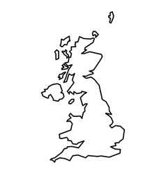 Black contour map of United Kingdom vector image vector image