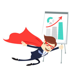 business man superman flying in front of vector image