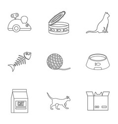 Cat house icons set outline style vector