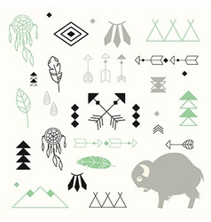 Collection of native American symbols vector image vector image