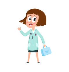 Comic woman doctor character holding first aid kit vector