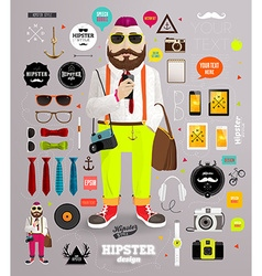 Editable hipster dude vector