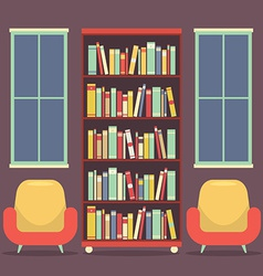 Flat Design Reading Seats and Bookcase vector image vector image