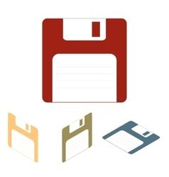 Floppy disk icon set Isometric effect vector image