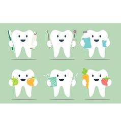 healthy teeth set vector image vector image