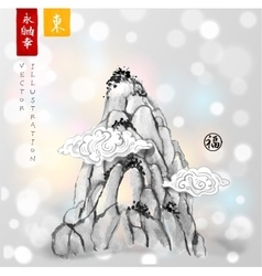 High mountain peak hand drawn with ink vector