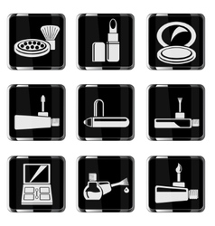 Make-up products chrom icons vector