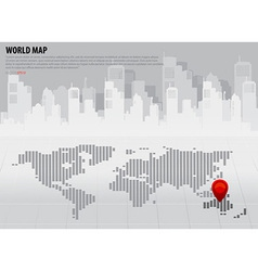 Map pointers and world map with continents vector image