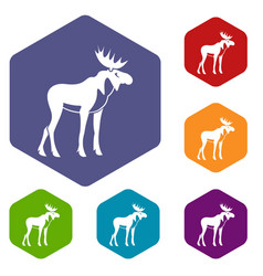 Moose icons set vector