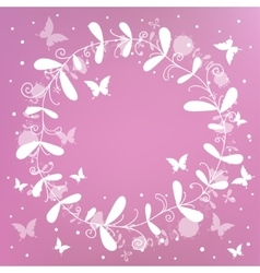 pink background with a wreath vector image vector image