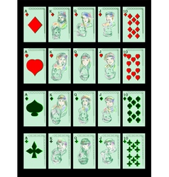Playing cards on black vector