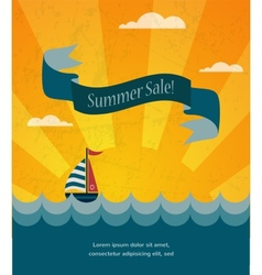 retro summer sale poster infographic vector image vector image