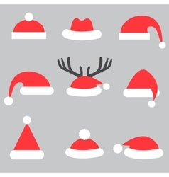 Set of Santa hats vector image