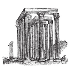 Temple of the olympian zeus worship of athena vector