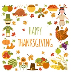 Thanksgiving day icon set Flat style vector image vector image