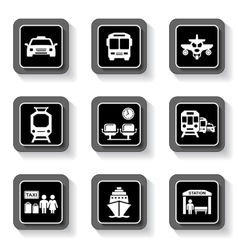 transport buttons with white silhouette vector image