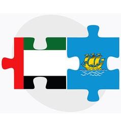 United arab emirates and saint pierre and miquelon vector