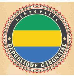 Vintage label cards of Gabon flag vector image vector image