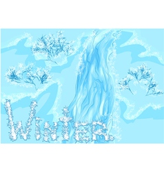 Waterfall winter vector