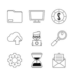 white background with monochrome marketing icons vector image vector image