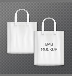 White realistic shoping bag template isolated on vector