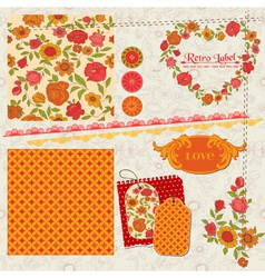 Scrapbook Design Elements - Orange Flowers vector image