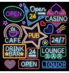 Neon bar illumination signs vector
