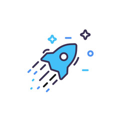 Colored rocket ship and stars icon in flat design vector