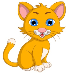 Cute cat cartoon expression vector