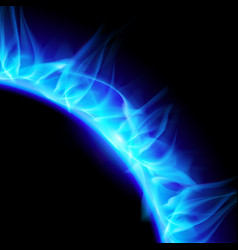 Partial view of blazing solar corona in blue on vector
