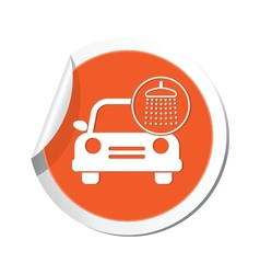 Car wash icon orange label vector
