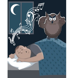 Snoring man and annoyed owl vector