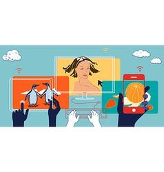Mobile devices social media Flat design business vector image