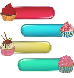 Price tag label with a cupcake write the text on vector