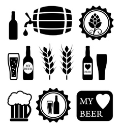 beer isolated objects set vector image