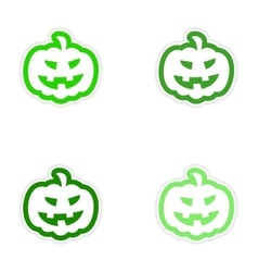 Assembly realistic sticker design on paper pumpkin vector