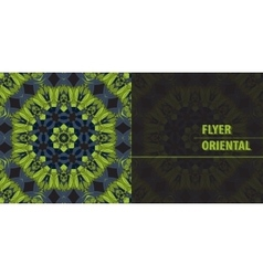 Flyer in green abstract retro ornate mandala vector
