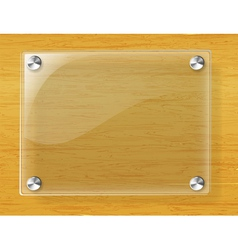 Glass plate on wood background vector