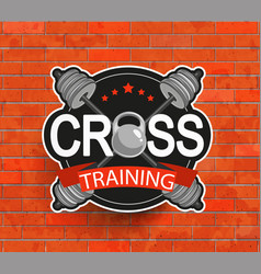 Retro styled crosstraining emblem vector