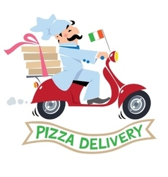 Funny pizza chef on scooter Pizza delivery logo vector image