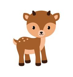 Adorable little deer in flat vector